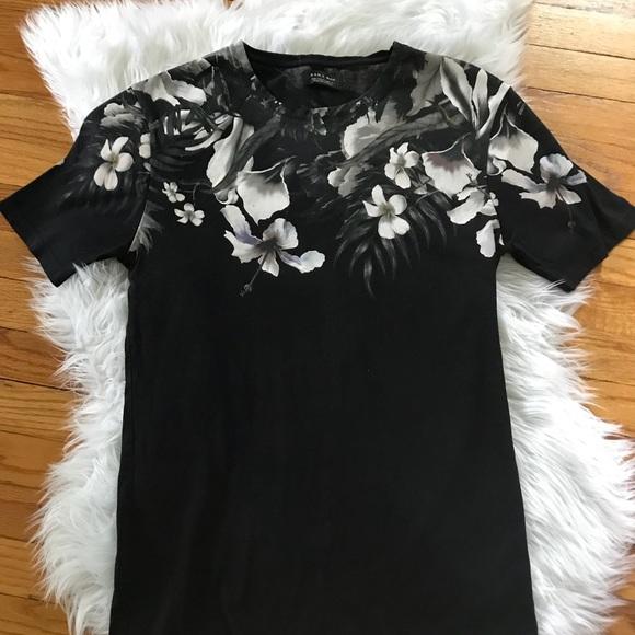 60bd64c7f Zara Shirts | Man Black Floral Short Sleeve Tshirt | Poshmark